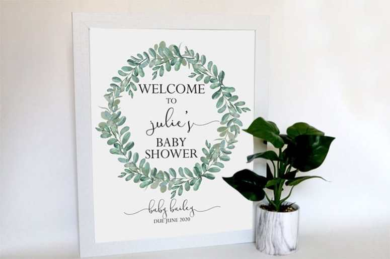 Greenery Baby Shower Supplies & Games: Welcome Sign