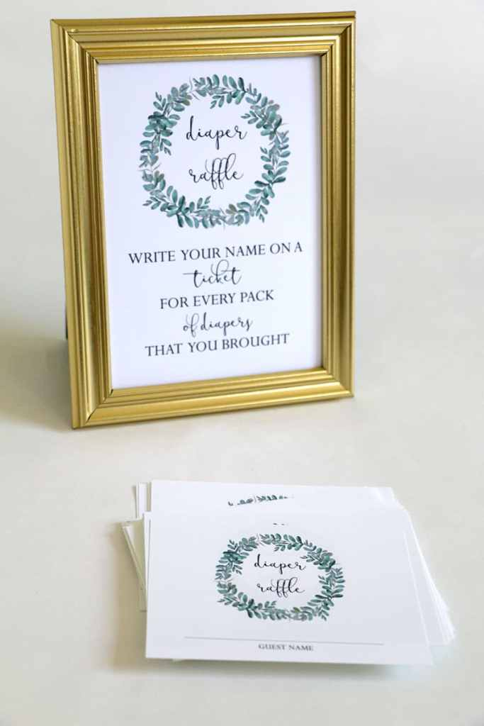 Greenery Baby Shower Diaper raffle Sign and cards