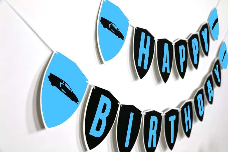 Blue Supercar Happy Birthday Banner