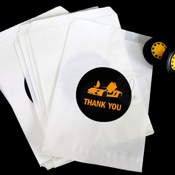 Orange Supercar Party Stickers