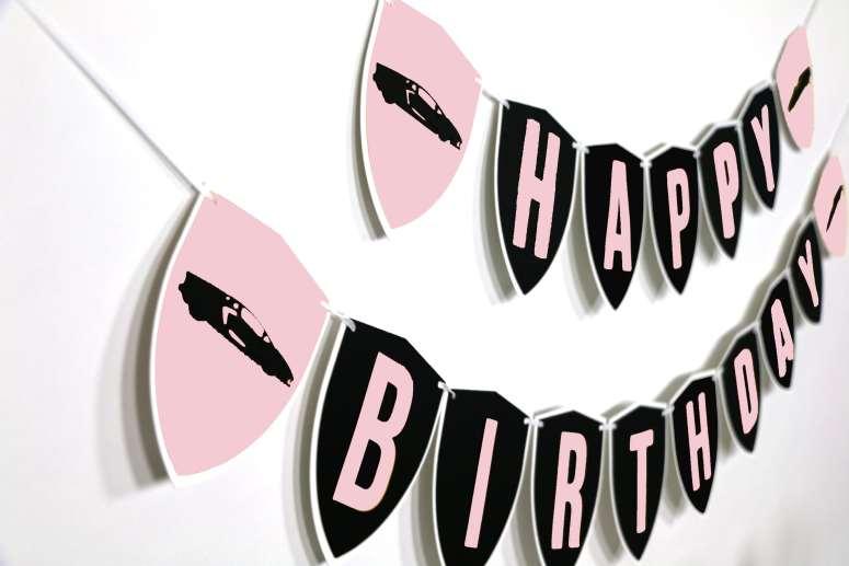 Pink Supercar Happy Birthday Banner