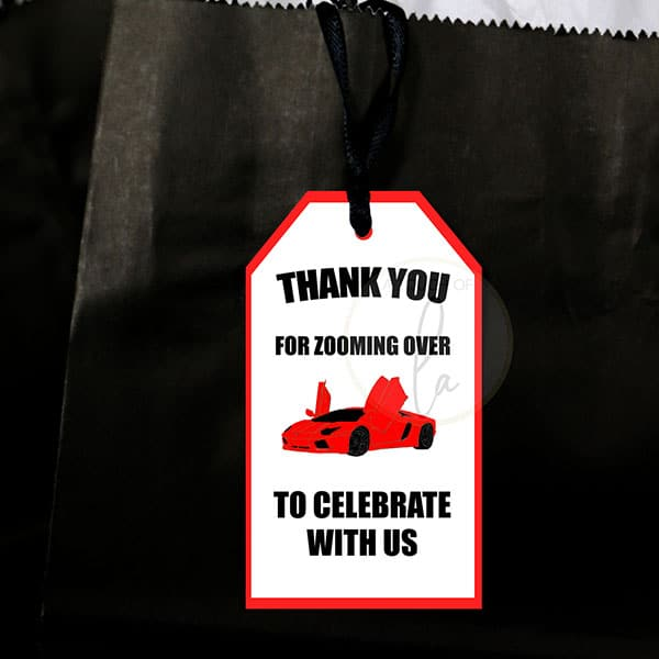 Red supercar party favor tags