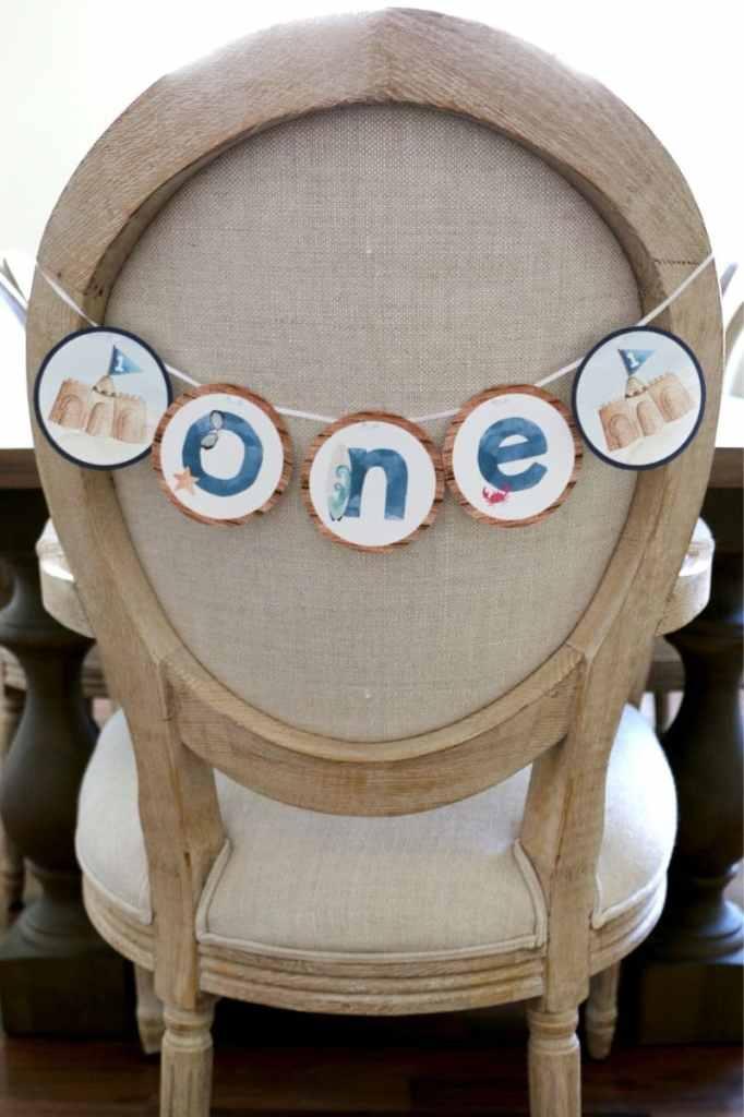 Beach First Birthday Party High Chair Banner