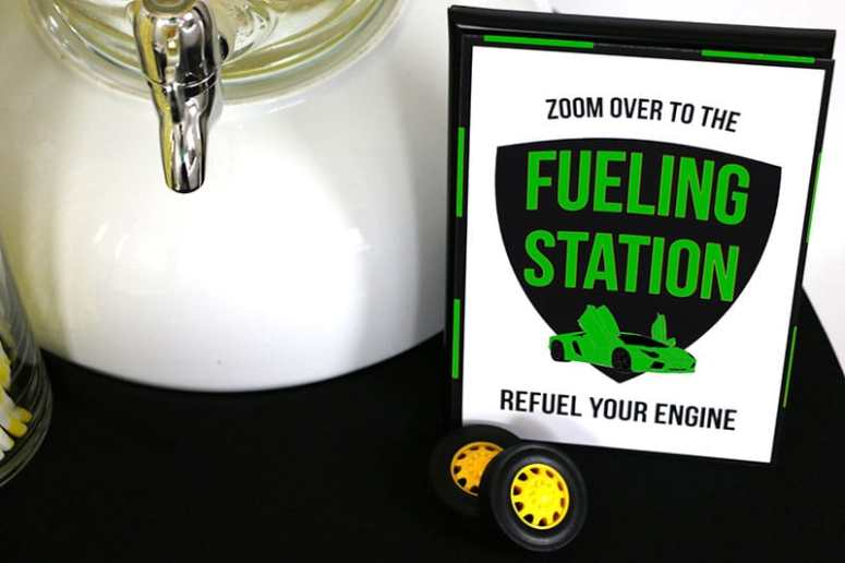 Green Supercar Theme Fueling Station Sign