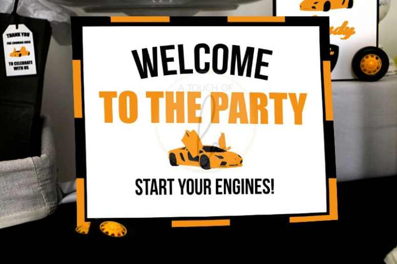 orange exotic car party welcome sign