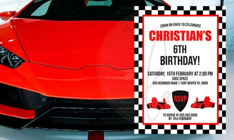 Red exotic car birthday party invitation