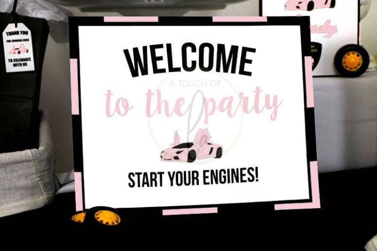 Pink Sports Car Party Welcome Sign