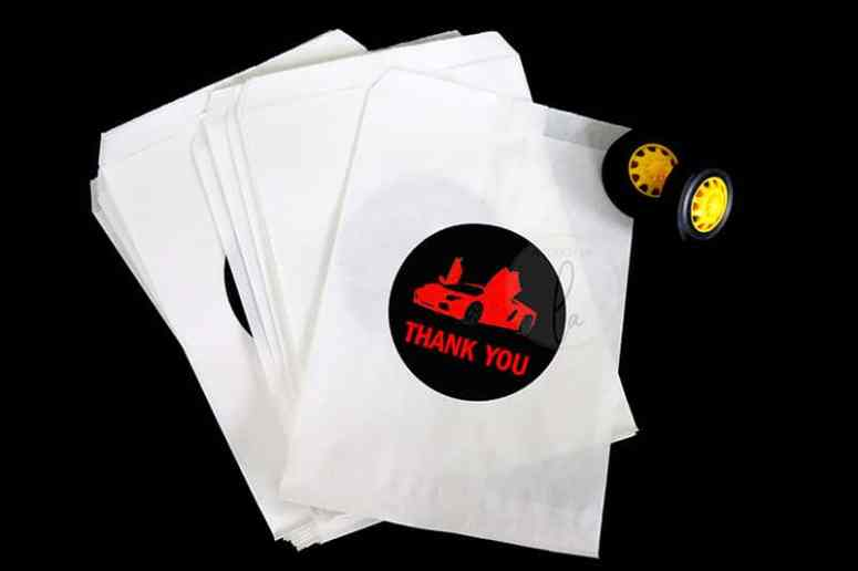 Red exotic car party stickers