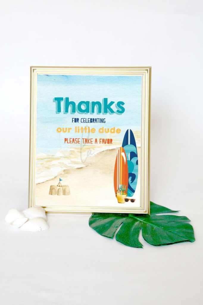 Surf Party Favor Sign