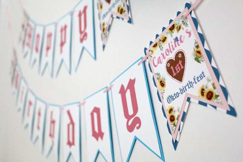 Girly Oktoberfest Happy Birthday Banner