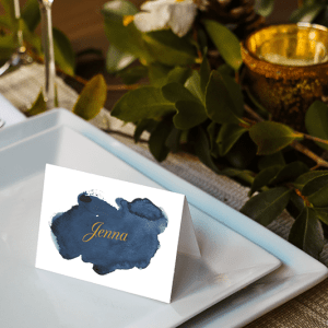 Navy Watercolor Placecards