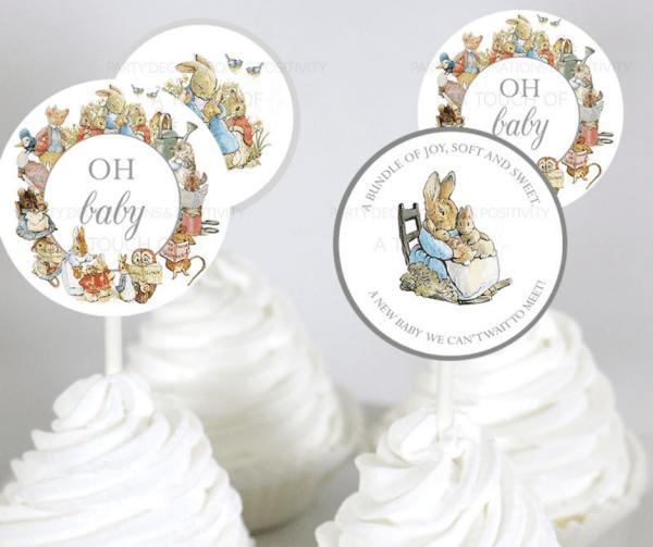 Grey Peter Rabbit Cupcake Toppers