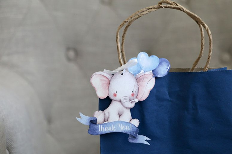 Elephant baby Shower favor tags