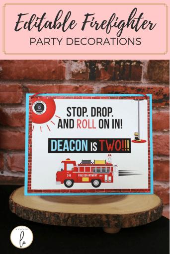 Editable Fireman Decorations