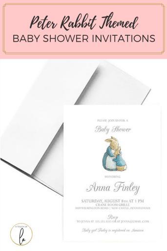 Peter Rabbit Themed Baby Shower Invitations