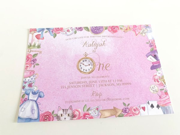 How to Decorate a Pink Alice In Wonderland Party Theme: First Birthday Invitations