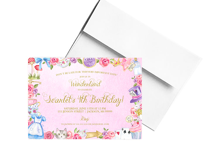 How to Decorate a Pink Alice In Wonderland Party Theme: Invitations
