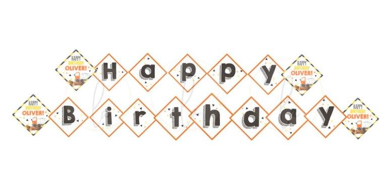 Construction Theme Happy Birthday Banner