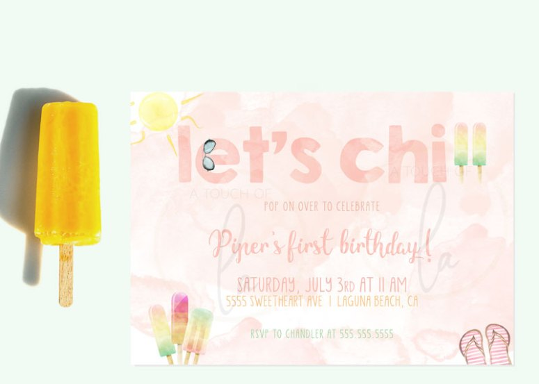 Chill Out With Popsicle First Birthday Party Invitation