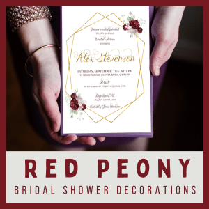 Red Peony Bridal Shower Party Pack