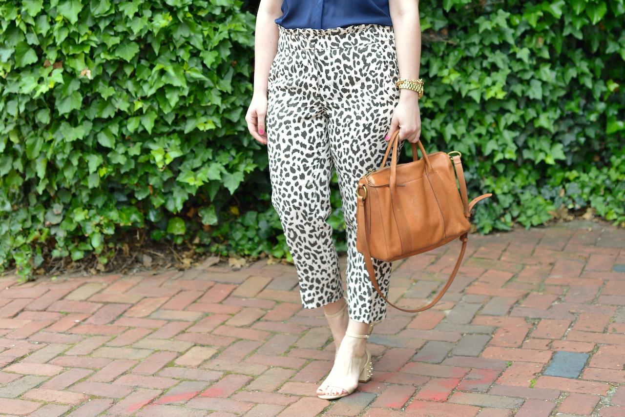 J Crew Ruffle Waist Linen Leopard Pants