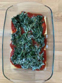 pâte et sauce tomate et épinards ricotta