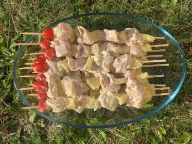 brochette de dinde ananas coco curry