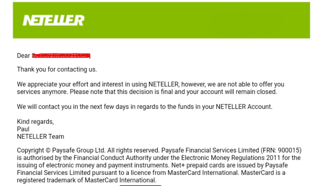 Neteller Closes Accounts of Clients