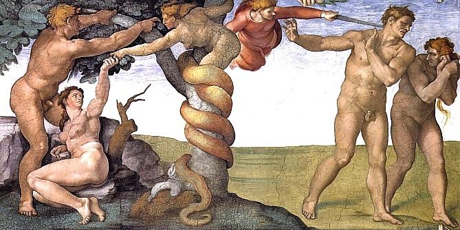 adam and eve the fall michaelangelo www.atozmomm.com