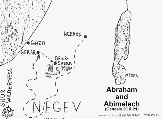 map of abraham and abimelech genesis 20 www.atozmomm.com