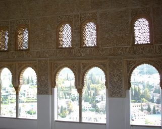 Gloriously decorated walls, with views of the Albayzin through the archways. Truly fit for royalty.