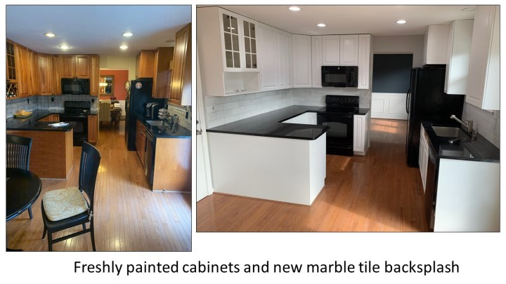 Freshly Painted Cabinets and New Marble Subway Tile Backsplash by A To Z Turnover Services
