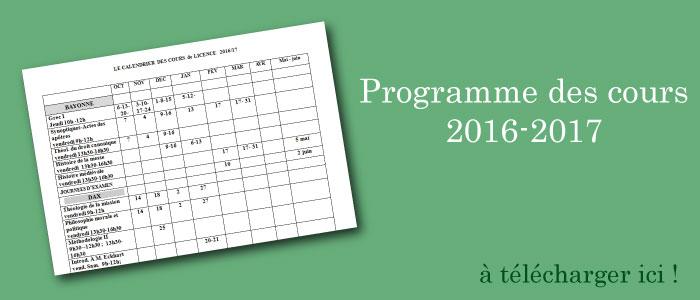 Mise à jour du programme des cours 2016-2017