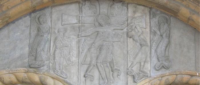 La Descente de Croix  du tympan de la cathédrale Sainte-Marie d'Oloron