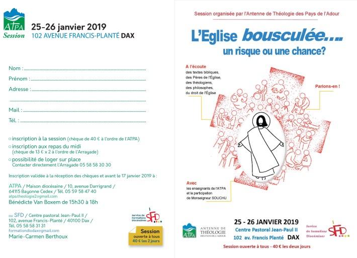 dax depliant-interieur L'Eglise Bousculée, un risque ou une chance : session du 25 et 26 janvier 2019 à Dax atpa thélogie