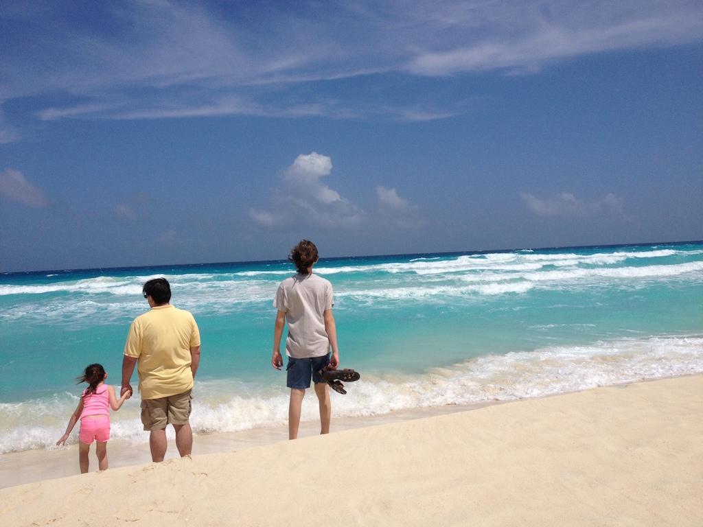 Jolanta's family on beach