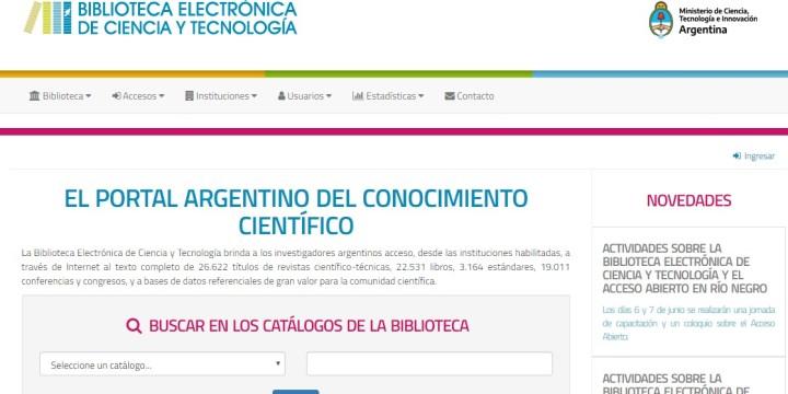 Sugerido del Mes: Biblioteca Electrónica e Ciencia y Tecnología – MINCYT