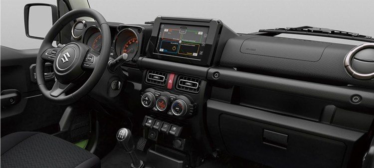 The interior of the new Suzuki Jimny looks bearable