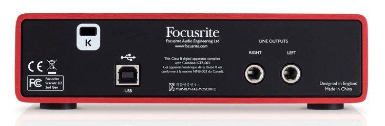 Focusrite Scarlett 2i2 Studio audio interface (rear panel)