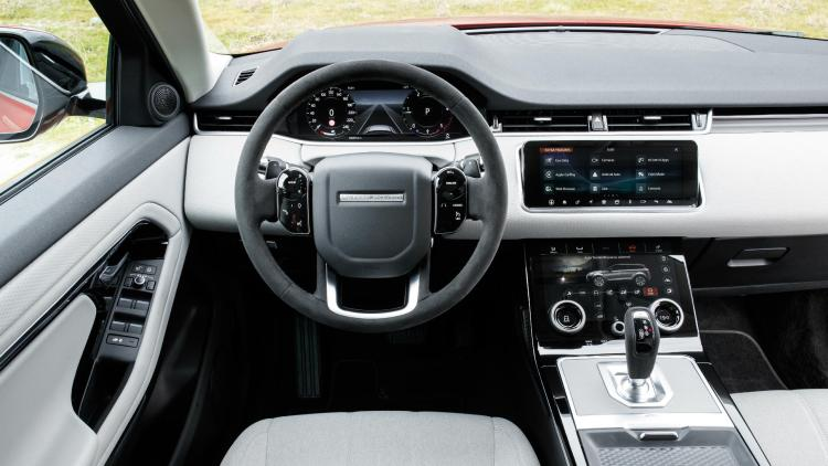 Range Rover Evoque (2019) review: Interior design with steering wheel and infotainment displays