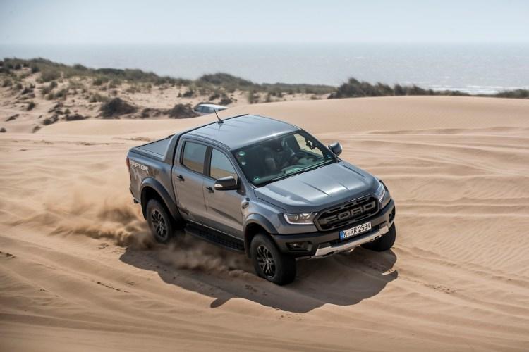 Ford Ranger Raptor on sand dunes
