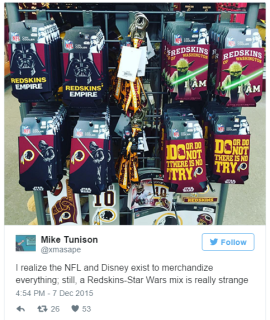 Mike Tunison on Twitter I realize the NFL and Disney exist to merchandize everything still a Redskins Star Wars mix is really strange https t.co KQWBzuT2xN