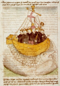 Medieval manuscript illustration of St. Brendan's  voyage to the New World. (source: wikipedia commons)