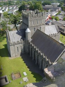 The view from the top. Kildare Cathedral (center), St. Bridget's Fire House (lower left), and Kildare town center (top right) as seen from the top of the round tower. (Photo: atriptoireland.com)