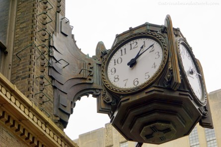 Clock on corner of the old Ayres' Building.