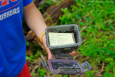 Medium sized cache with log book.