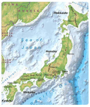 Mapa Japón de mochileros
