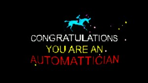 "Game-pixel styled banner that reads ""Congratulations you are an Automattician"" with a blue horse on the top"
