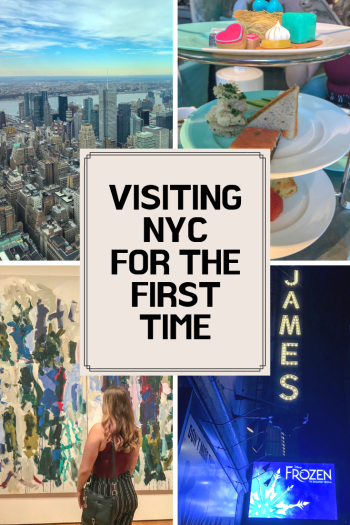 Four photos of NYC skyline, afternoon tea platter, woman looking at art & St James Theater sign