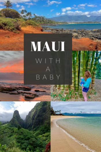 """Photos of beaches, trees, and mountains with the words """"Maui With A Baby"""""""